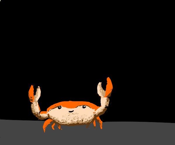 happy crab in darkness