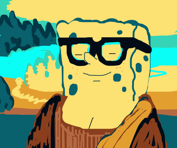 Spongebob with glasses as mona lisa