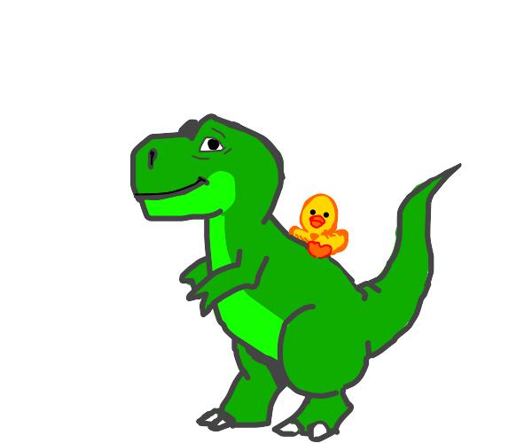 Duck riding a T-rex