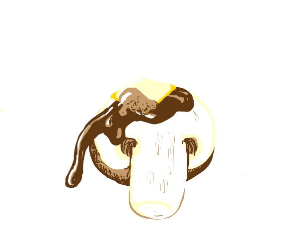 Waffle syrup on a mushroom