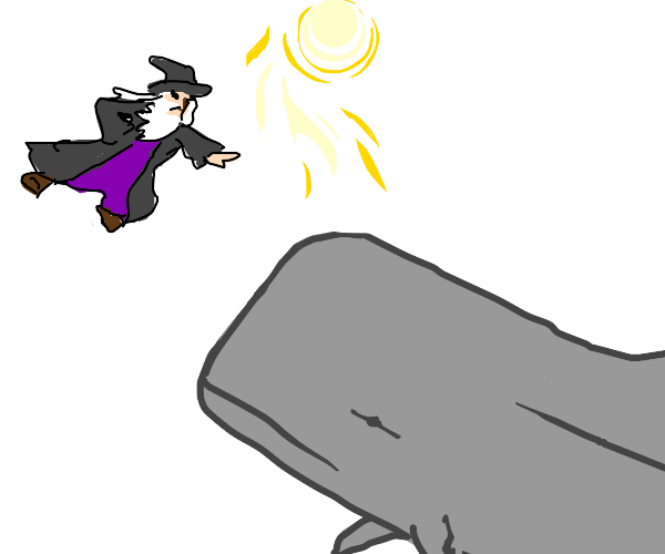 Wizard attacking a red whale with the sun