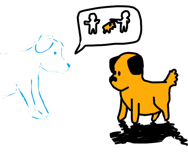 old dead dog telling new dog to protect owner