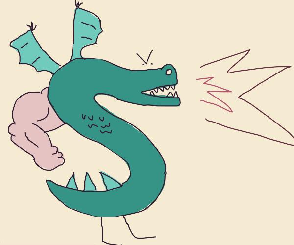 Dragon's left arm is suspiciously buff