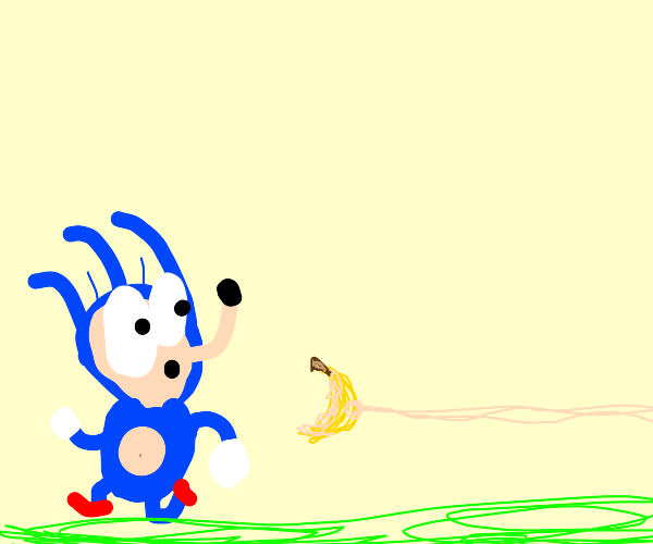 Sonic scared of a banana