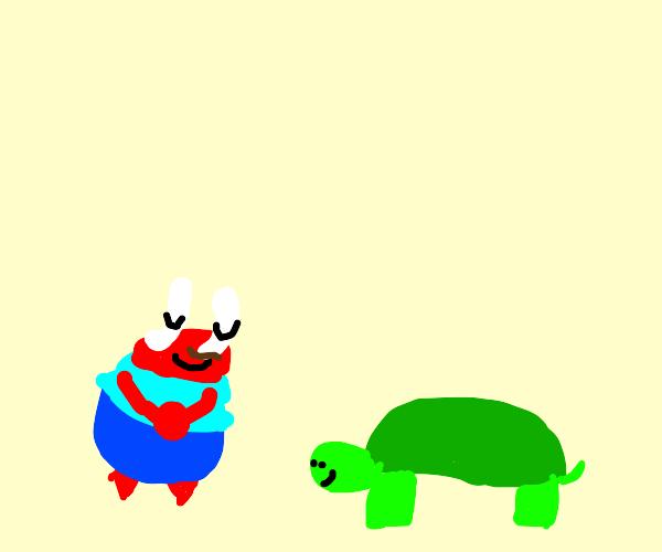 Mr Krabs greeting a turtle