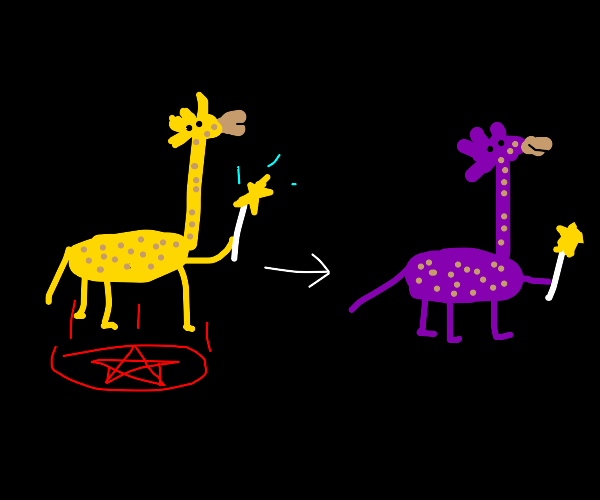 Giraffe bends reality to become purple