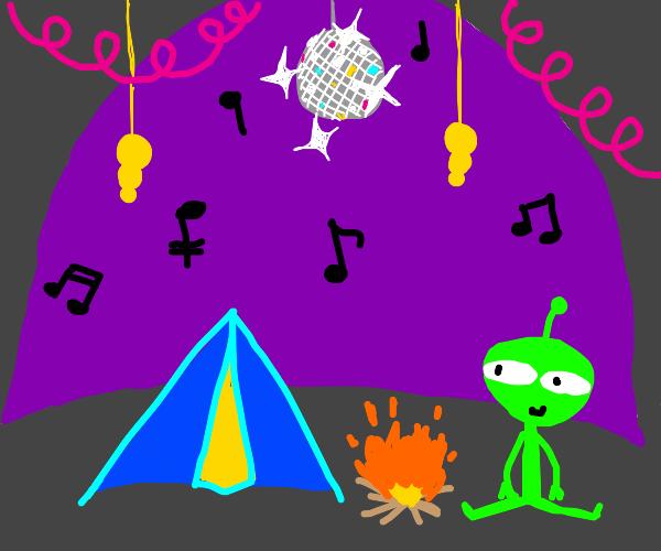 alien camps in a funky alien planet's cave