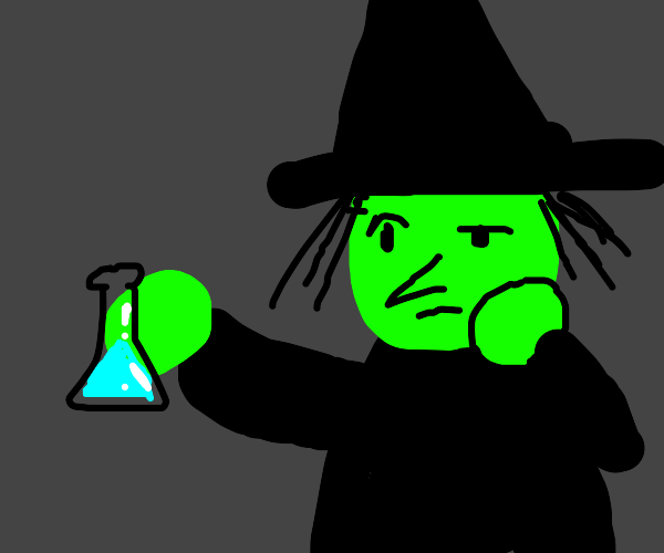 confused witch holds bright blue potion