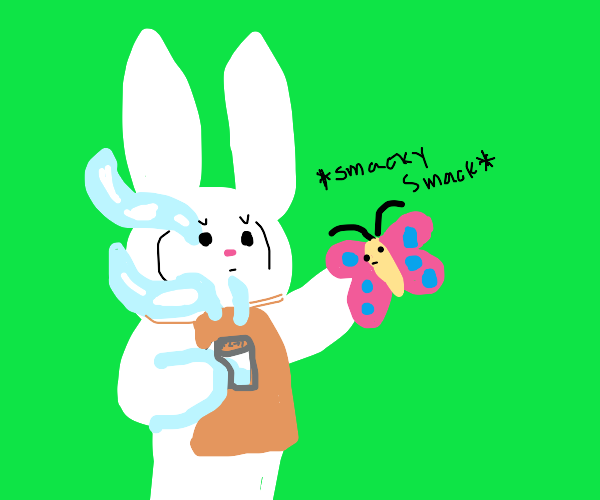 Bunny with coffee cup slaps a butterfly