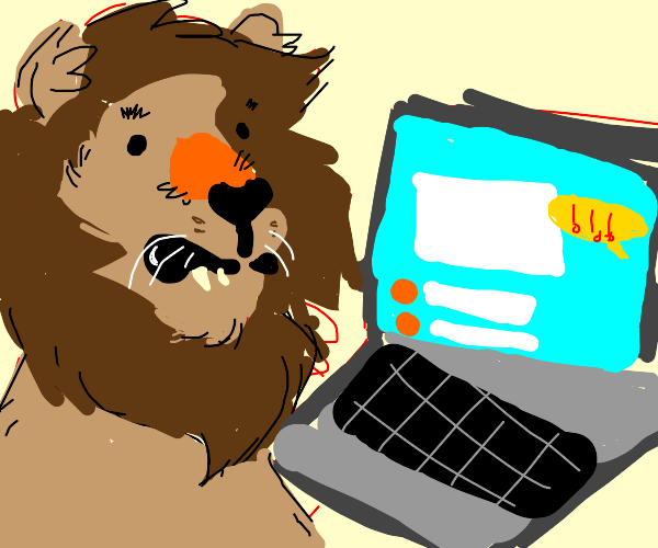Lion receives a notification on his laptop