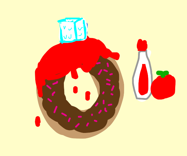 donut dipped in ketchup with ice cube on top