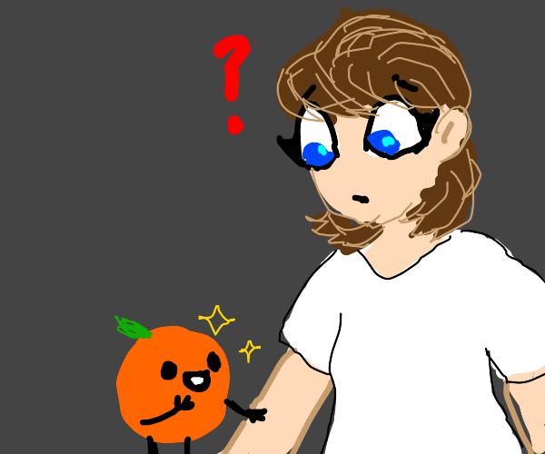 Orange stares at skin