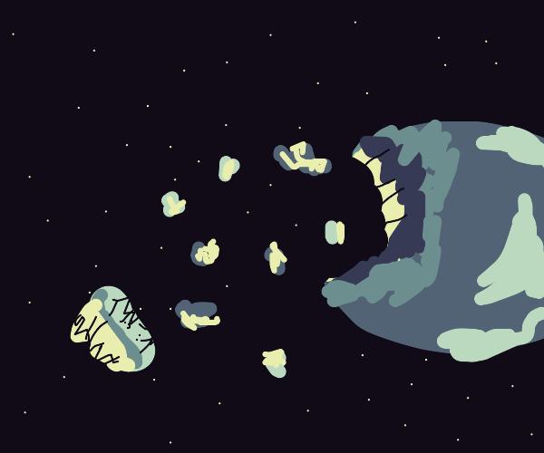 planet debris floating through space