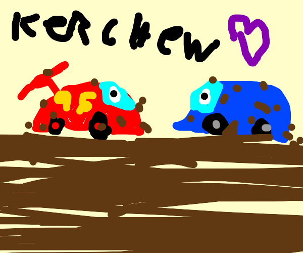 A red and blue car playing in dirt