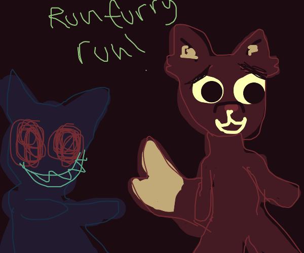 Furry runs away from their evil shadow