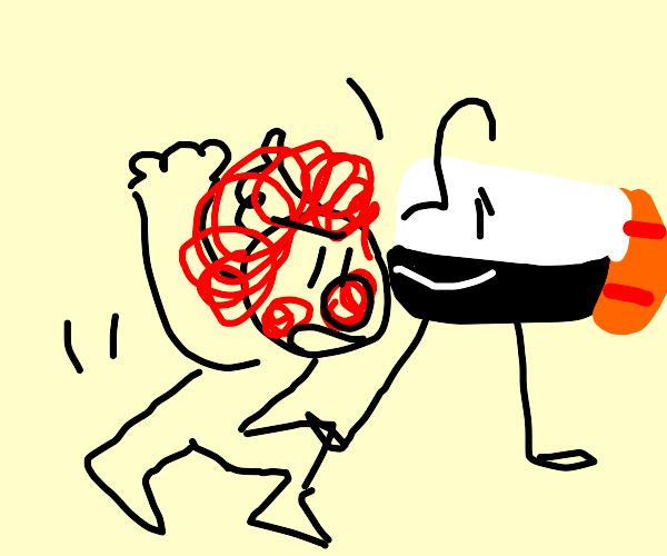 Walking sushi trips a clown