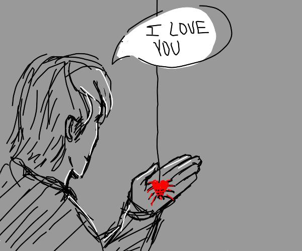 man loves heart spider