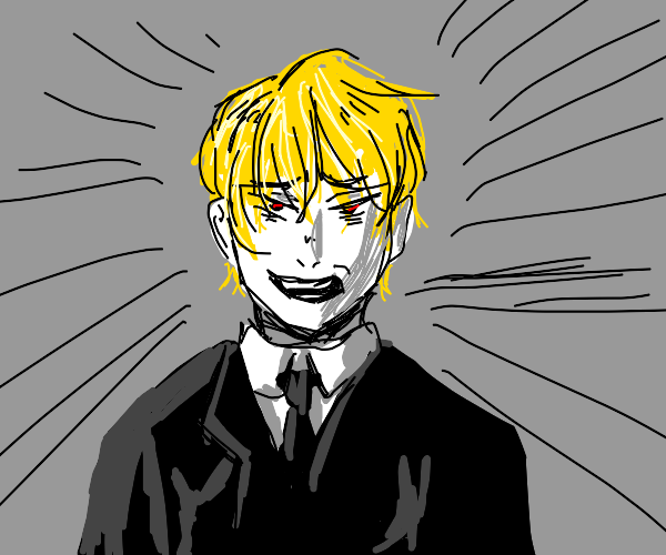 Scary blond haired guy with a business suit