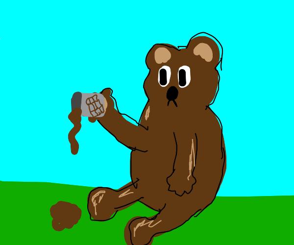 bear spills his hot chocolate