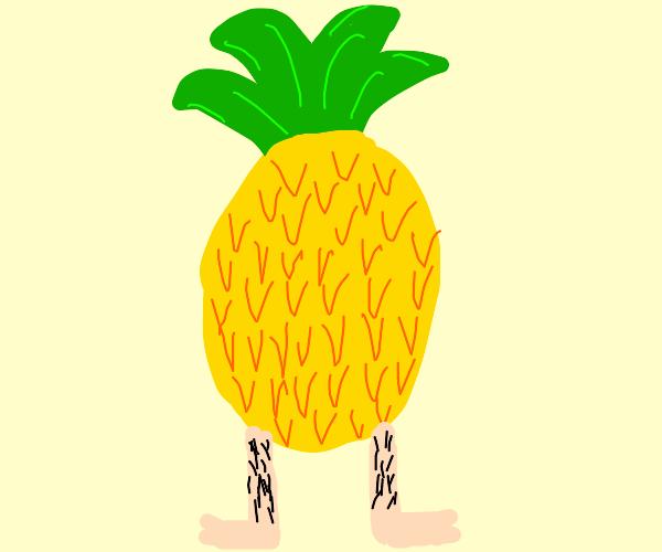 Pineapple with human legs