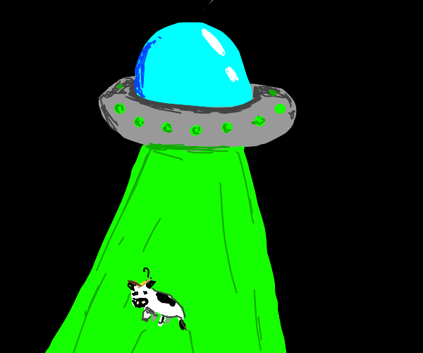 Cow getting abducted by a UFO.