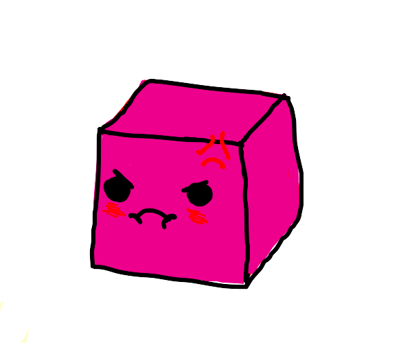 Angry pink cube