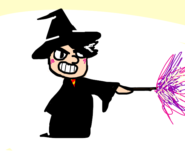 cheeky boy whit a wand and a hat