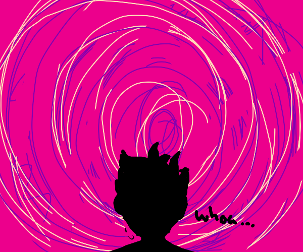 man stares into the pink void