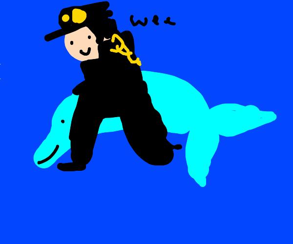 jotaro riding a dolphin