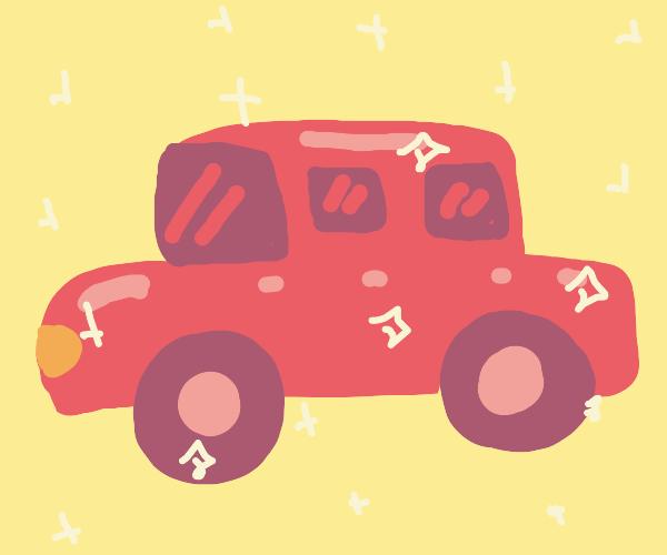 Shiny pink car