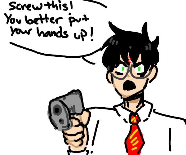 Harry Potter has a gun