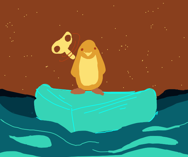 wind-up penguin on actual iceberg