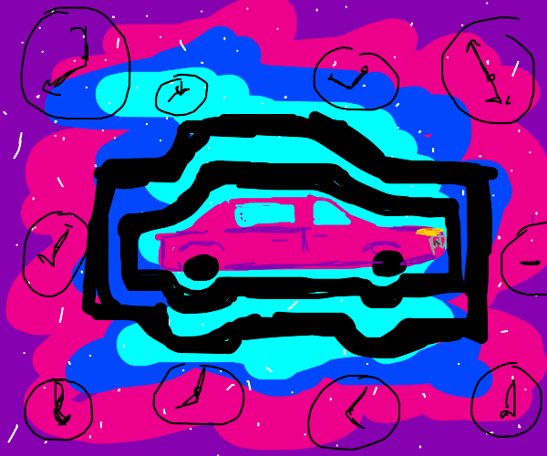 Time-travelling Pink Car (in mid-travel)