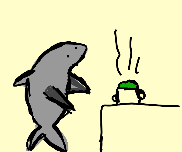 shark boiling lettuce?