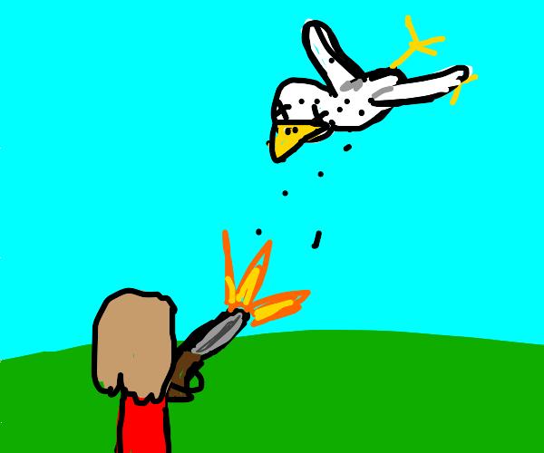Girl kills man bird