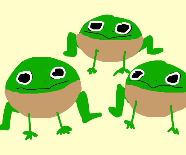 Three frogs (?) wearing light brown hoodies
