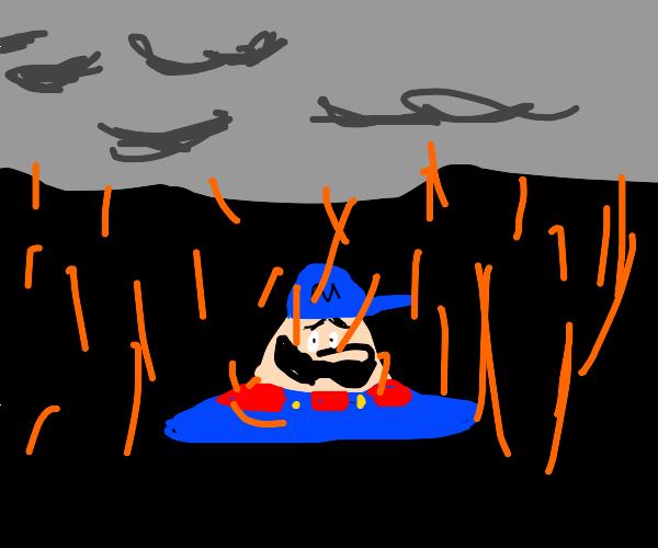 Bootleg Mario dissolves in the orange rain