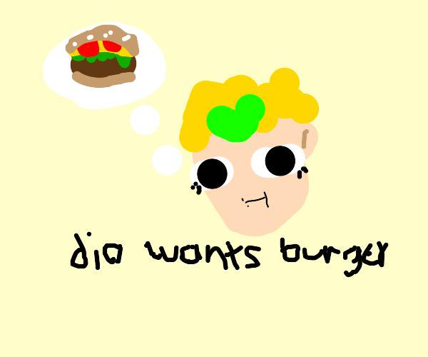 Man thinks of burger