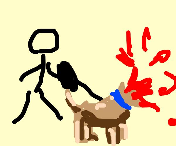 person walking a headless dog