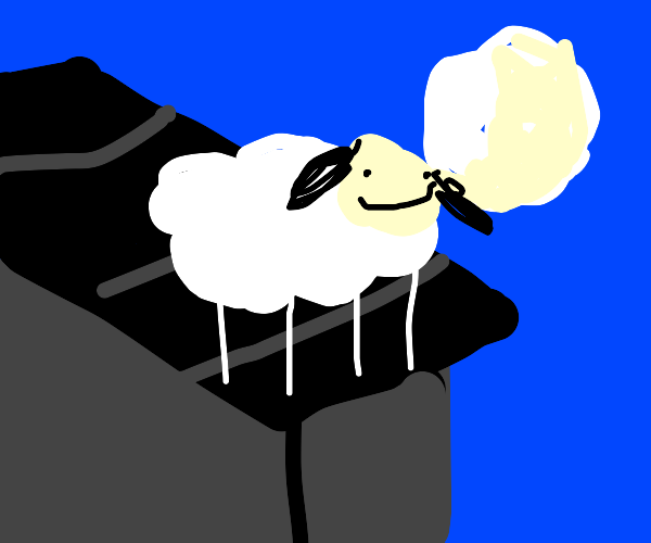 Sheep on a roof looking at the moon