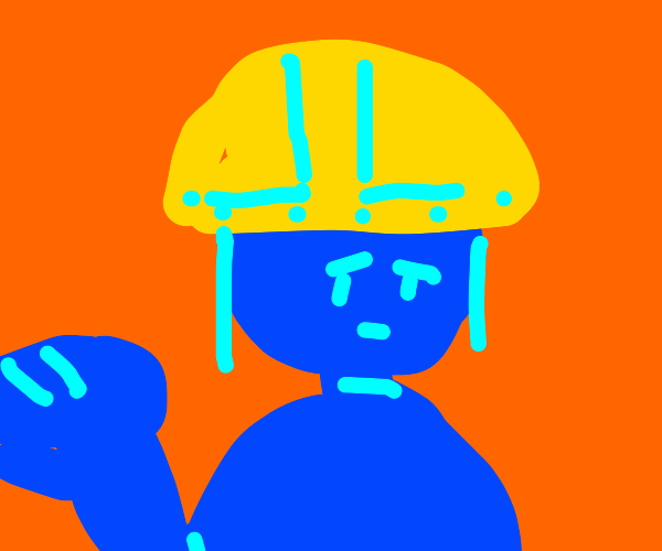 Blue guy with a helmet