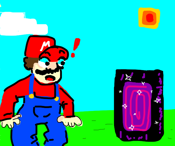 Mario finds a nether portal