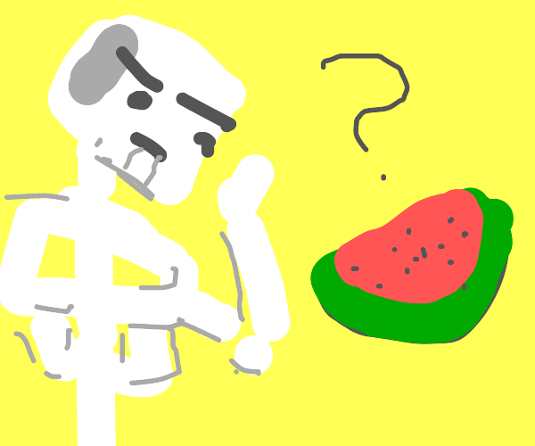 skeleton confused by watermelon