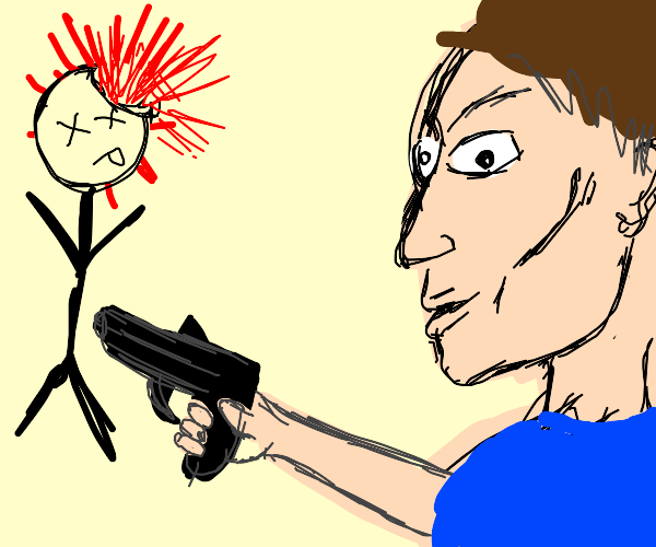 Normal man shoots stick man.