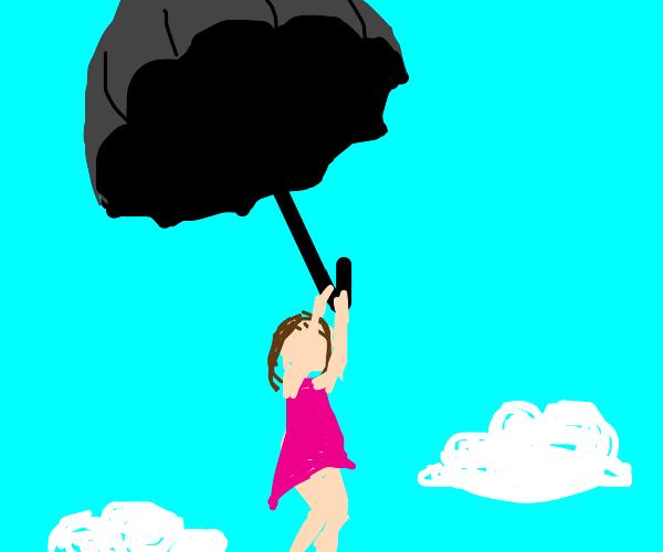 girl parachuting using giant umbrella