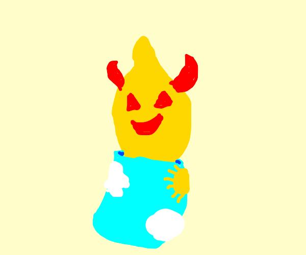 Lemon Demon wearing Sky's skin