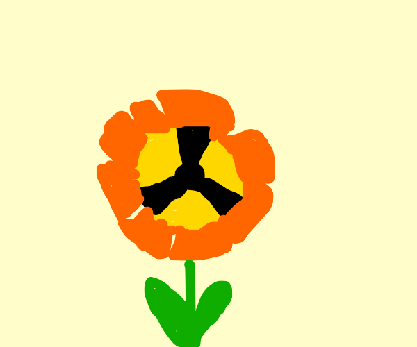 nuclear symbol colored flower
