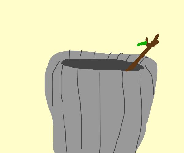 trash bin with stick