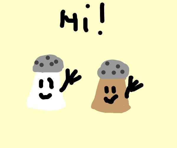 Happy salt/pepper thing waving