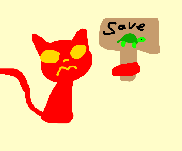 "Red Cat Says ""Save the Turtles"""